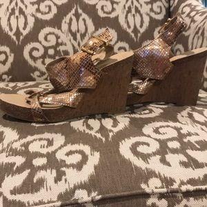Snakeskin BCBG platform sandals